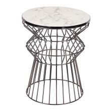 New Design Unique Marble Top Gun Metal Side Table Frame Metal Wire