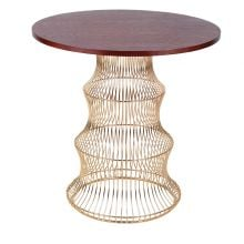 Contemporary Gold Metal Wire Base Wood Top Round Dining Table