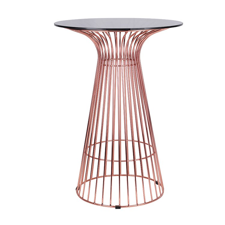 Good Quality Round Glass Metal Wire Dining High Bar Table