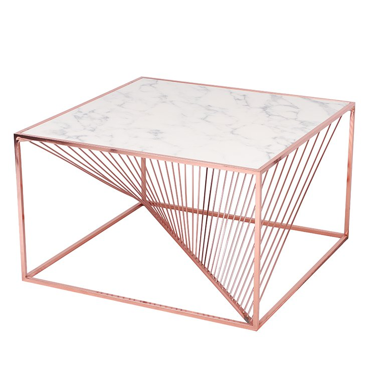 Marble Top And Copper Metal Base Coffee Table