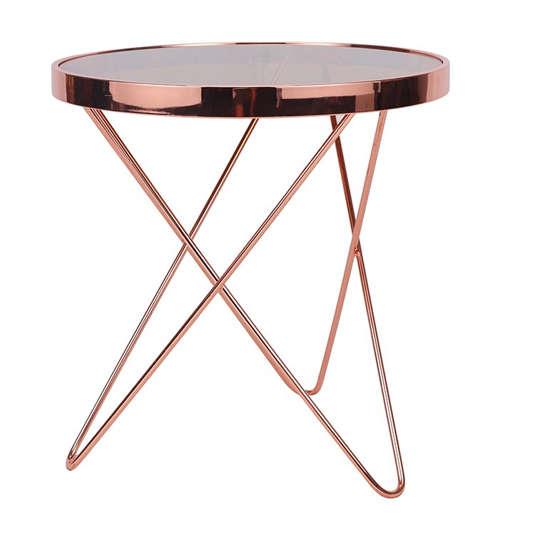 Modern Round Steel Table Base Glass Top Side Table