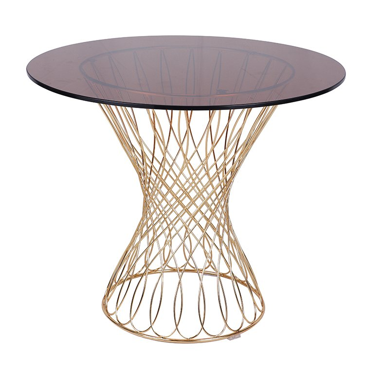 Gold Plating Glass Top Metal Wire Frame Dining Table