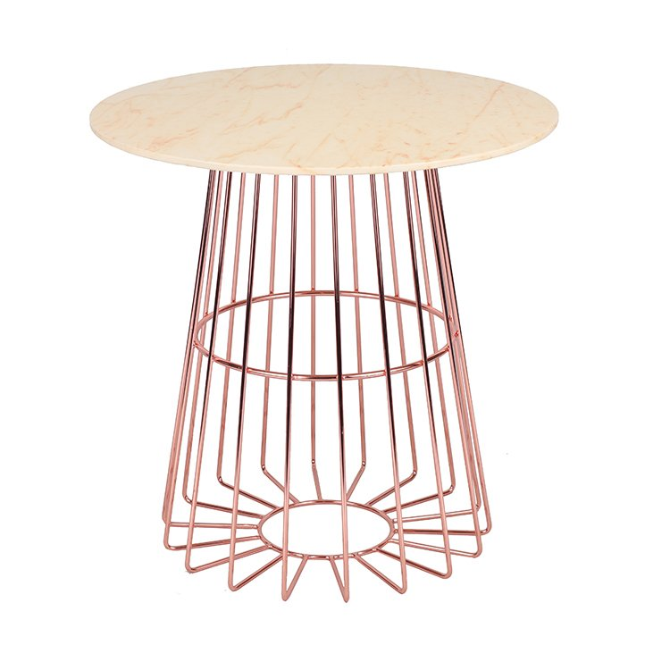 Marble Top Metal Wire Rose Gold Dinning Table